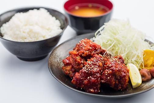 韓国風辛辛揚げ定食
